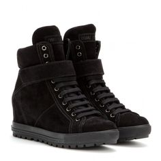 Miu Miu Suede Concealed Wedge Sneakers ($500) ❤ liked on Polyvore featuring shoes, sneakers, wedges, black, black wedge sneakers, black wedge shoes, suede shoes, black suede sneakers and suede wedge sneakers