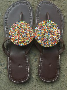 Beaded leather sandals, Tanzania