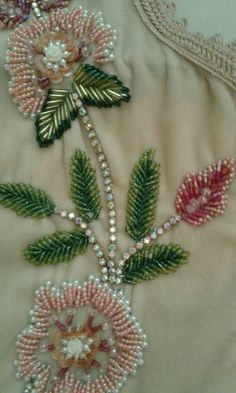 This is pretty but think its weight would drag the fabric down Bead Embroidery Tutorial, Bead Embroidery Patterns, Hand Embroidery Stitches, Hand Embroidery Designs, Zardozi Embroidery, Tambour Embroidery, Couture Embroidery, Ribbon Embroidery, Bordados Tambour