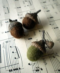 ~felted wool acorns with real caps~