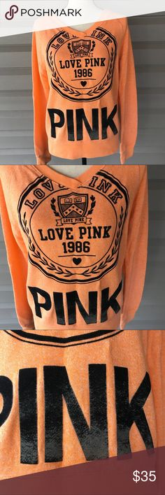 """Love Pink Victoria's Secret Orange Sweatshirt 1986 Love pink Victoria's Secret sweatshirt Orange with black logo 1986 size M Super comfy and cute on and huge logo.  Has some wash wear on the Pink on bottom but looks natural. doesn't distract from this adorable item! it is a cotton poly blend so it's warm but not super heavy weight the big pink is a velvety material. Please see pictures for flaw.  Dimensions taken while laying flat.  Length 24""""  Bust 38""""  Waist 36""""  Hips 36""""  Sleeve Length…"""