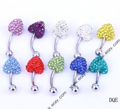 $23.88 24mm Multi-color Heart Navel Nail Belly Button Bar Ring Crystal Body Piercing Art #BodyJewelry #eozy