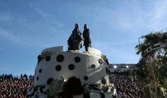 The first same-sex wedding in the history of the Tournament of Roses Parade was held atop a float on Wednesday.  Photo: Brian van der Brug / Los Angeles Times