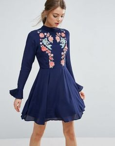 ASOS | ASOS Embroidered Trumpet Sleeve Mini Dress