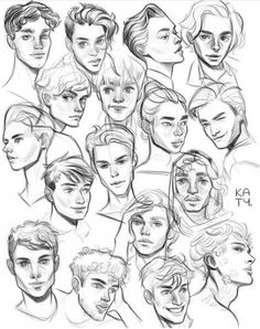 64 Ideas For Drawing Reference Poses Male Comic - pencil-drawings Male Face Drawing, Drawing Poses Male, Face Drawing Reference, Art Reference Poses, Drawing Male Hair, Hair Reference, Drawing Faces, Sitting Pose Reference, Cute Boy Drawing
