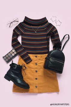 Striped Off-the-Shoulder Sweater Retro Outfits, New Outfits, Trendy Outfits, Fall Outfits, Vintage Outfits, Cute Outfits, Fashion Outfits, Cute Fashion, Look Fashion