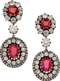 Burma Ruby, Diamond, Silver-Topped Gold Convertible Earrings.