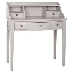Hutch-style pine wood writing desk with 5 drawers and open storage compartments.   Product: Writing deskConstructio...