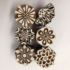 Indian Woodblock Stamps set of 6 - Blossoms NEW