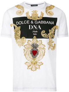 Dolce & Gabbana Baroque Embroidered T-shirt - Farfetch Dolce & Gabbana, Dolce Gabbana Hombre, Dolce Gabbana T Shirt, Baroque, Louis Vuitton T Shirt, T-shirt Broderie, Print Logo, Apparel Design, Moncler