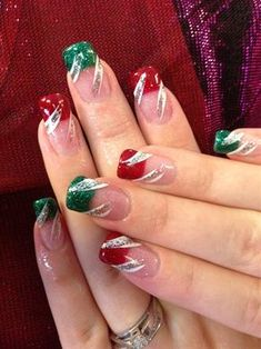 Christmas Nails - Cheap And Easy Christmas Nail Art Design 13 Christmas Nail Art Designs, Holiday Nail Art, Winter Nail Art, Winter Nails, Christmas Design, Xmas Nails, Christmas Nails, Christmas Ideas, Simple Christmas