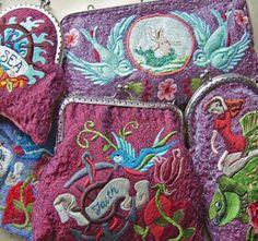 karen richards - decorative (purses) Karen Richards, Unique Handbags, Frou Frou, Drupal, Surface Pattern Design, Vera Bradley Backpack, Textures Patterns, Cute Gifts, Purses And Bags