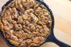Ooey gooey skillet cookie. Best served with a scoop of vanilla ice-cream.