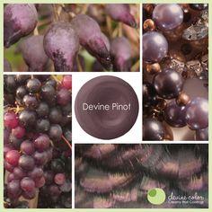 Inspiration behind Devine Pinot- a lush and sophisticated purple paint color. Paint Palettes, Color Palettes, Valley Vineyards, Purple Paint Colors, Painting Tricks, Color Patterns, Color Combos, Lush, Colours
