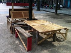 Duccio Maria Gambi, Chapitre Zero, recycled street furniture, Paris, recycled wood, guerrilla furniture, rough and ready, DIY, green furnitu...