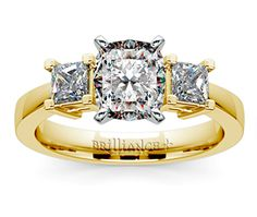 Cushion Princess Diamond Engagement Ring in Yellow Gold  http://www.brilliance.com/engagement-rings/princess-diamond-ring-yellow-gold-1/2-ctw