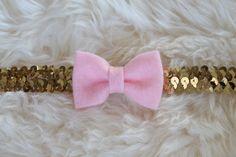 Pink Felt Bow on a Gold Sequin Headband by sparkleandspiceshop
