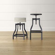 Turner Black Adjustable Backless Bar Stools and Linen Cushion | Crate and Barrel