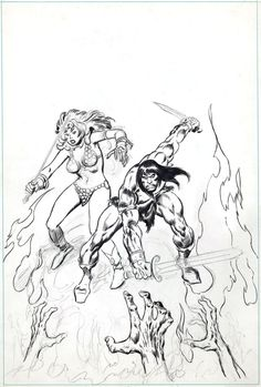 Conan the Barbarian #44 unfinished cover Comic Art