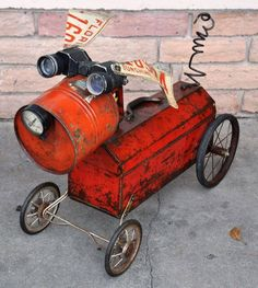 Adorable! Created from found objects! Toolbox Fido