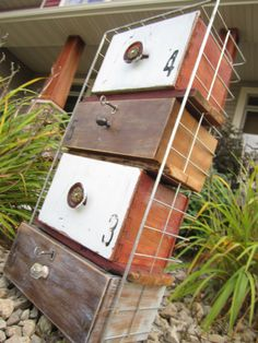Repurposed, Anthro-style Organization. Wire Basket & Wooden Drawers.. $215.00, via Etsy.