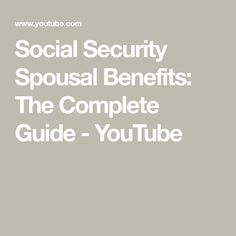 Social Security spousal benefits are some of the most generous benefits you'll receive in retirement. If you understand these rules it could make a BIG diffe. Retirement Benefits, Social Security Benefits, U Tube, Book Recommendations, Finance, How To Plan, Patriotic Quilts, Organize, Life Hacks