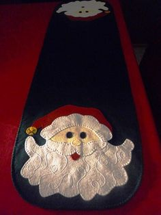 Santa Table Runner Hand Stitched Wool Felt by clriegs on Etsy Quilted Table Toppers, Quilted Table Runners, Felted Wool Crafts, Felt Crafts, Felt Pillow, Lap Quilts, Penny Rugs, Wool Applique, Christmas Projects