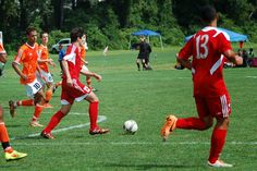 Team America 96 (2014 Kirkwood College Showcase, U19 Gold) vs Hersey 96 Orange Pride (August 2, 2014) -- Anthony Nauls #12, Tommy Orozco #13 (TAFC96 Soccer)