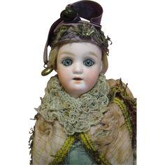 Original 12 In. Marotte Toy, German Bisque Head, Glass Eyes from dollstx on Ruby Lane
