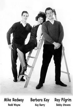 Three of the stars of Embassy Records pictured in 1961. Mike Redway (Redd Wayne), Barbara Kay (Kay Barry) and Ray Pilgrim (Bobby Stevens)