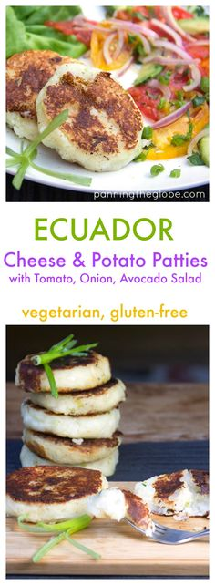 Ecuadorian Cheese and Potato Patties with Tomato, Onion, Avocado Salad. A scrumptious gluten-free vegetarian meal from Ecuador.  #gluten-free #vegetarian