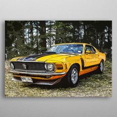 art car Ford Mustang 70 by Bren Dyer 1970 Ford Mustang, Car Ford, Artwork Prints, Poster Prints, Car Posters, Poster Making, Hot Rods, Robins, Art Market