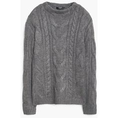 MANGO Mixed Knit Sweater (2,260 MKD) ❤ liked on Polyvore featuring tops, sweaters, chunky cable knit sweater, cableknit sweater, mango tops, long sleeve cable knit sweater and embellished tops
