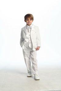 Kc1 new white boy tuxedo ring bearer wedding communion formal suit ...