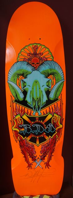 Bomb Limited edition skateboard from Wes at Bulldog skates. Bright orange deck wakes you up.