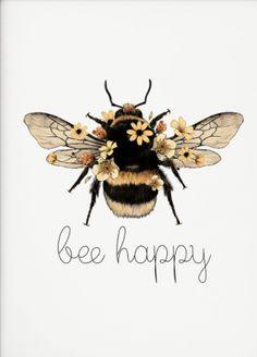 Bee Happy, Bee Art, Bees Knees, Watercolor Paintings, Art Drawings, Illustrations, Sketches, Artwork, Bumble Bee Illustration