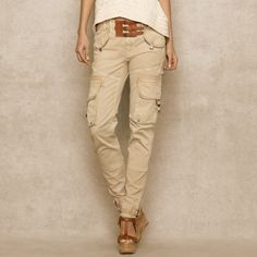Buckled Herringbone Cargo Pant - Trousers Women - Ralph Lauren France