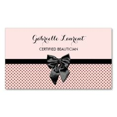 Chic pale Parisian pink and black polka dot hair and beauty salon business cards for the certified beautician with a girly black ribbon tied into a cute bow. Personalize this feminine light pink French inspired design by adding the name of the hairdresser or hairstylist. Flat printed image, not actual bow.
