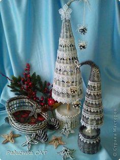 Поделка изделие Новый год Декупаж Плетение Новогодние хлопоты Бумага газетная Трубочки бумажные фото 1