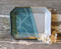 Pottery Soap Dish  Turquoise and White  Leaf by BRobertsonPottery