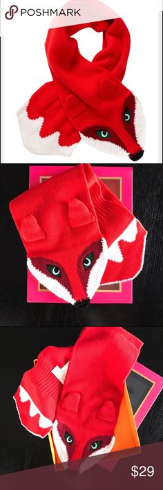 Kate Spade Girl's Fox Scarf Gorgeous girl's scarf from Kate Spade, one size fits all, red color, perfect for winter, 100% wool. Brand new in box. Perfect for your little girl or as a gift!🎁 kate spade Accessories