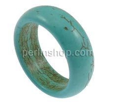 Synthetische Türkis Fingerring, blau, 9mm, Größe:12