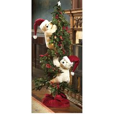 Tree Polar Bears with Santa Hats Front Door Christmas Decorations, Christmas Table Centerpieces, Christmas Tree Themes, Christmas Wreaths, Holiday Decor, Rustic Christmas, Christmas Holidays, Xmas, Christmas Tree Inspiration