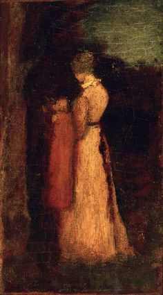 Albert Pinkham Ryder (American, 1847-1917), Mother and Child , last quarter of 19th century, oil on canvas mounted on wood p...
