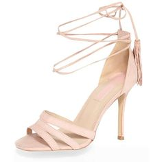 Dorothy Perkins Pink 'Sunset' Tassel Tie Sandal ($59) ❤ liked on Polyvore featuring shoes, sandals, pink, ankle strap sandals, pink shoes, high heel sandals, ankle tie shoes and pink high heel sandals