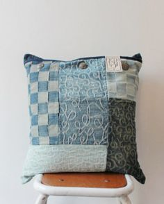 Jacquard denim patchwork cushion