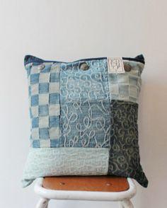Jacquard denim patchwork cushion