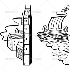 Realistic Graphic DOWNLOAD (.ai, .psd) :: http://vector-graphic.de/pinterest-itmid-1006283186i.html ... Design Elements ...  background, boat, city, decor, design, element, house, sail boat, sailboat, sea, ship, tower, town, vector, water  ... Realistic Photo Graphic Print Obejct Business Web Elements Illustration Design Templates ... DOWNLOAD :: http://vector-graphic.de/pinterest-itmid-1006283186i.html