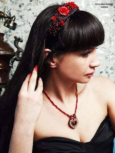 Hair band with red roses black velvet by SvitlanaGurinaArt on Etsy