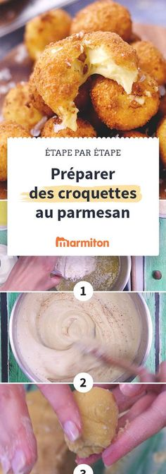 Des croquettes au parmesan croustillantes avec un coeur fondant au fromage rien que pour vous. Une recette facile à faire grâce à notre pas à pas photos. A servir à l'apéro #apero #marmiton #recette #italie #tapas #croquette #parmesan #fromage